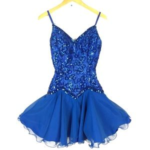 Vintage 80s sequin ruffle mini formal prom dress